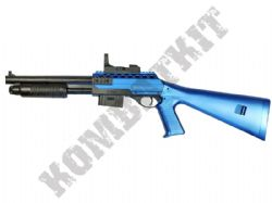 0581B BB Gun Remington Replica Pump Action Spring Shotgun 2 Tone Blue Black
